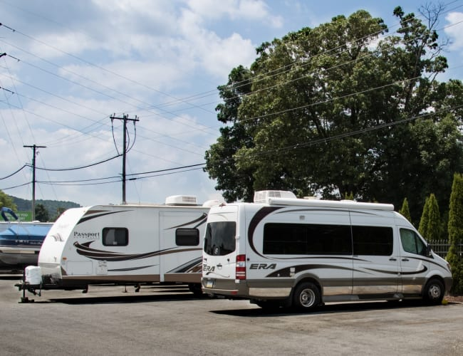 A row of recreational vehicles stored at Storage World in Sinking Spring, Pennsylvania