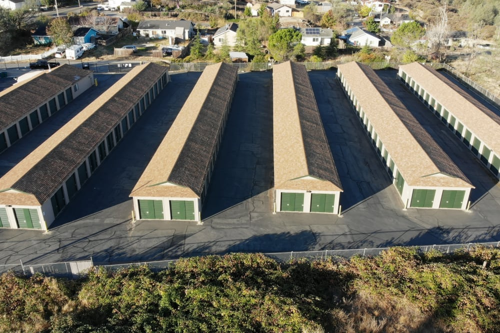 Aerial view of Superior Self Storage in Grass Valley, California