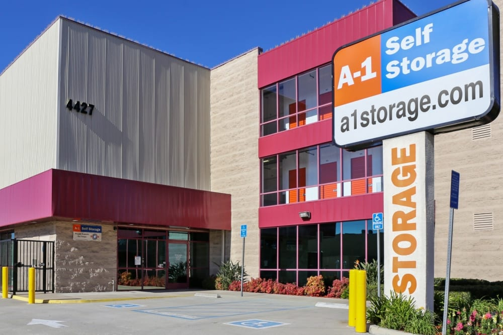 The front entrance to A-1 Self Storage in Glendale, California