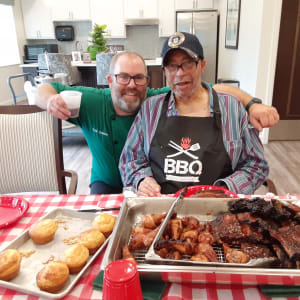 Resident James presenting his barbecued ribs The Preserve of Roseville in Roseville, Minnesota.