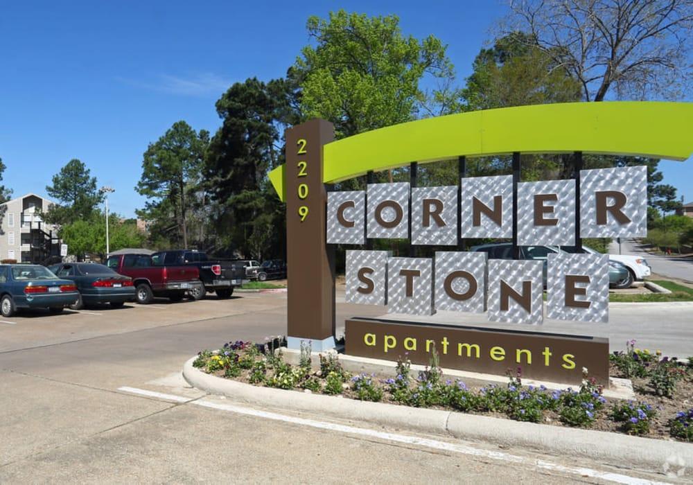 Sign at Cornerstone Apartments in Huntsville, Texas