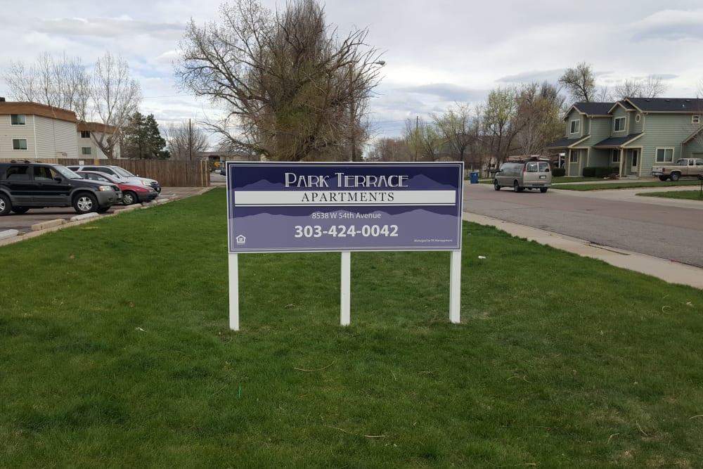 Exterior sign at Park Terrace in Arvada, Colorado
