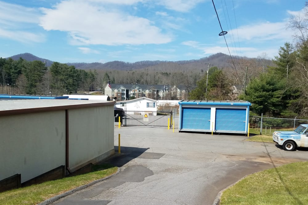 Monster Self Storage storage units and wide drive thru access lanes in Asheville, North Carolina