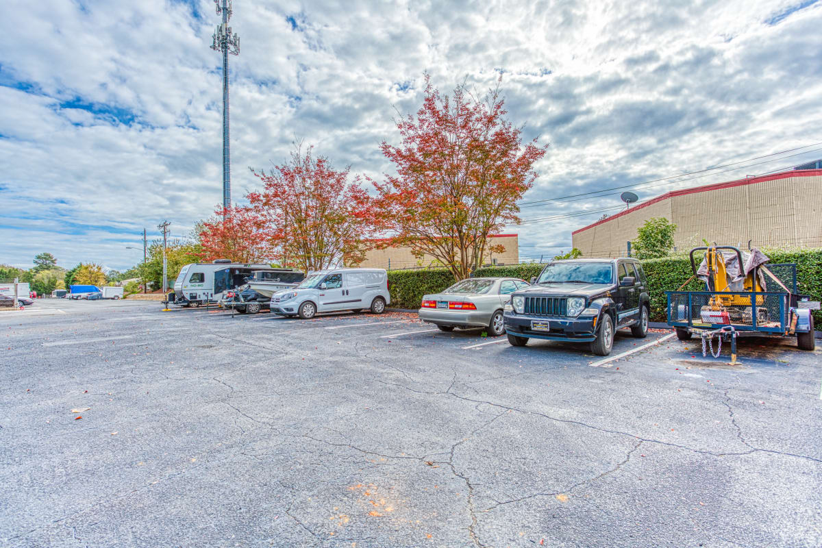 Large parking spaces at Devon Self Storage in Charlotte, North Carolina
