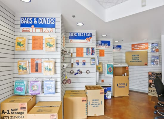 Moving and packing supplies available at A-1 Self Storage in Lakeside, California