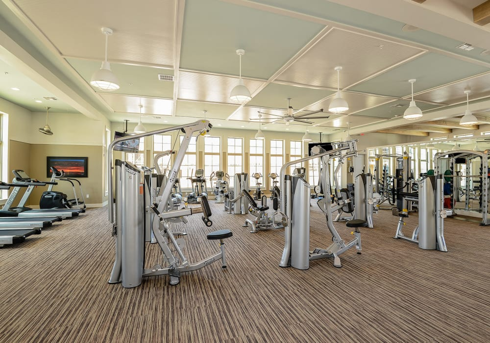 Full sized fitness center at Palm Bay Club in Jacksonville, Florida