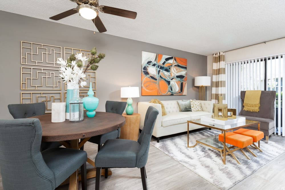 Modern decorated living room at Siena Apartments in Plantation, Florida