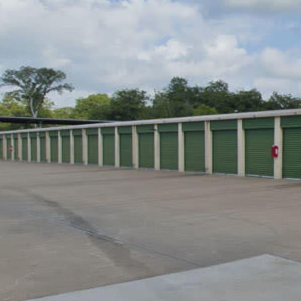 Outdoor storage units at StorQuest Self Storage in Sugar Land, Texas