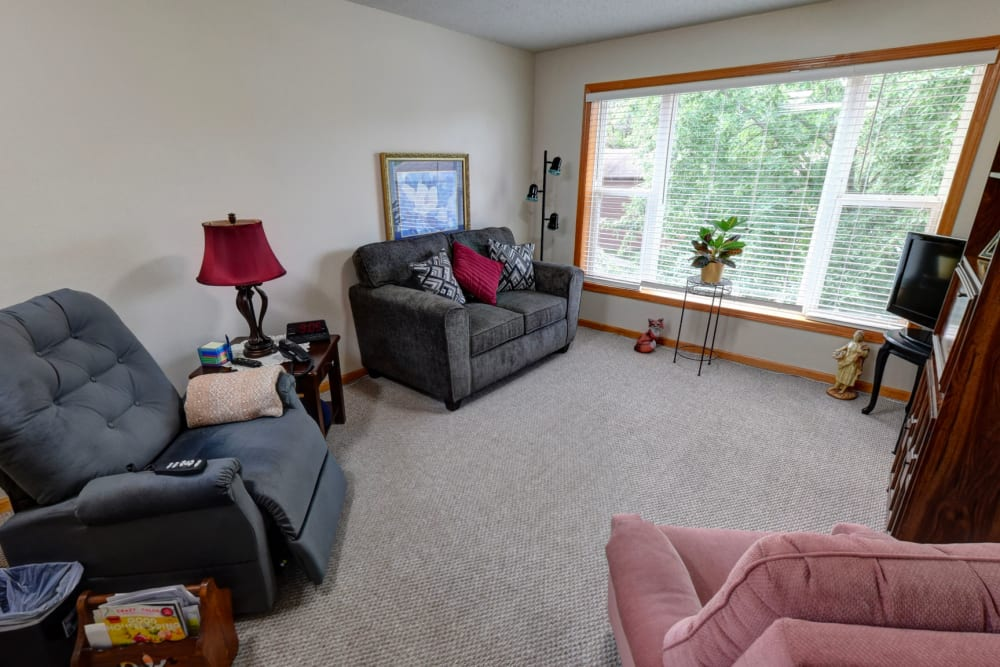 Spacious living room at Garnett Place in Cedar Rapids, Iowa.