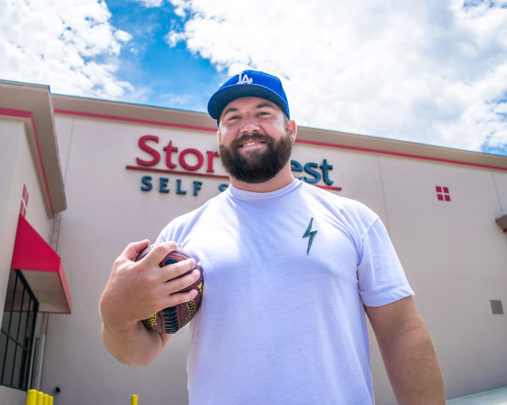 Ryan Kalil ambassador for StorQuest Self Storage former NFL player for the Carolina Panthers