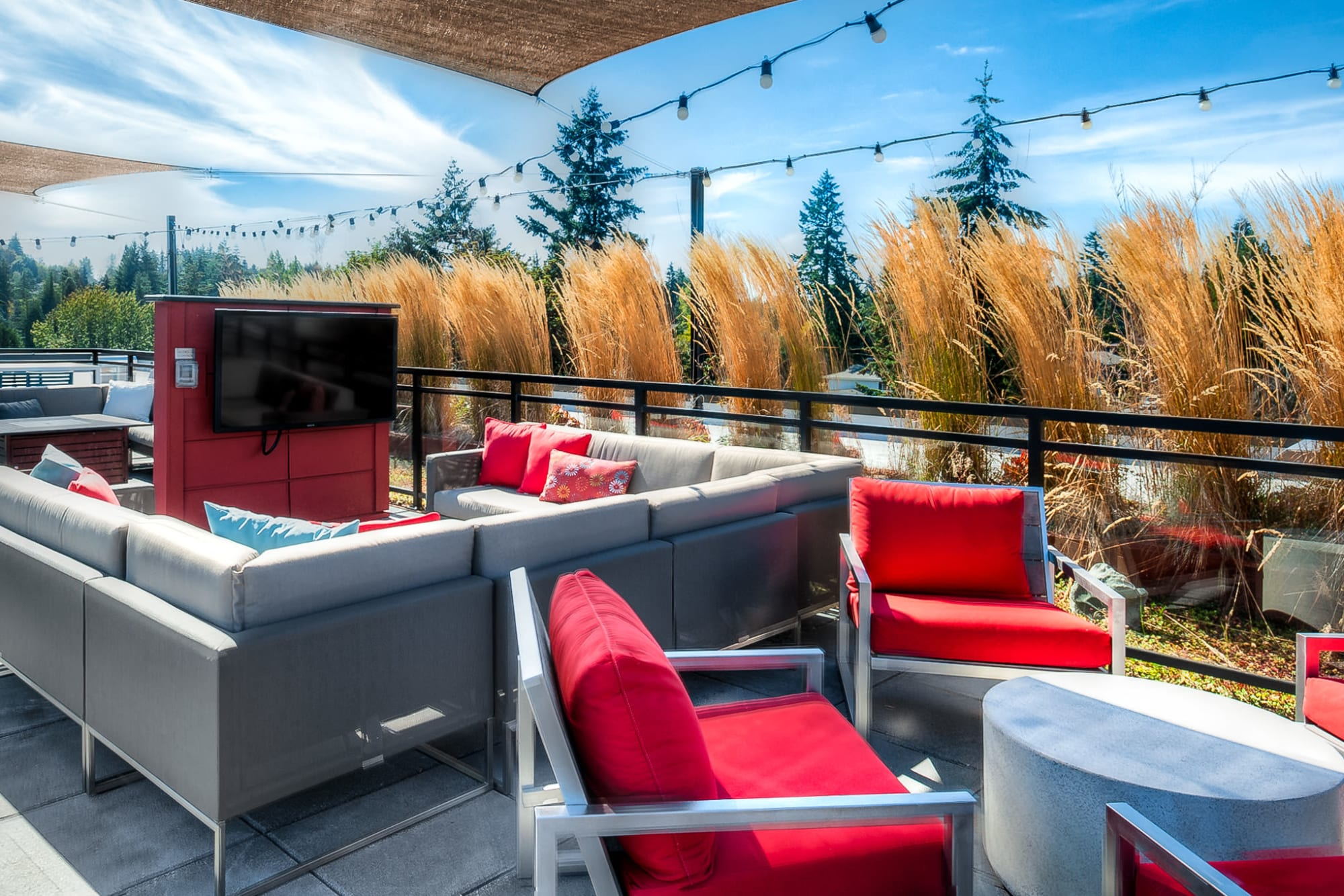 Another view of the rooftop lounge at Tria Apartments in Newcastle, Washington