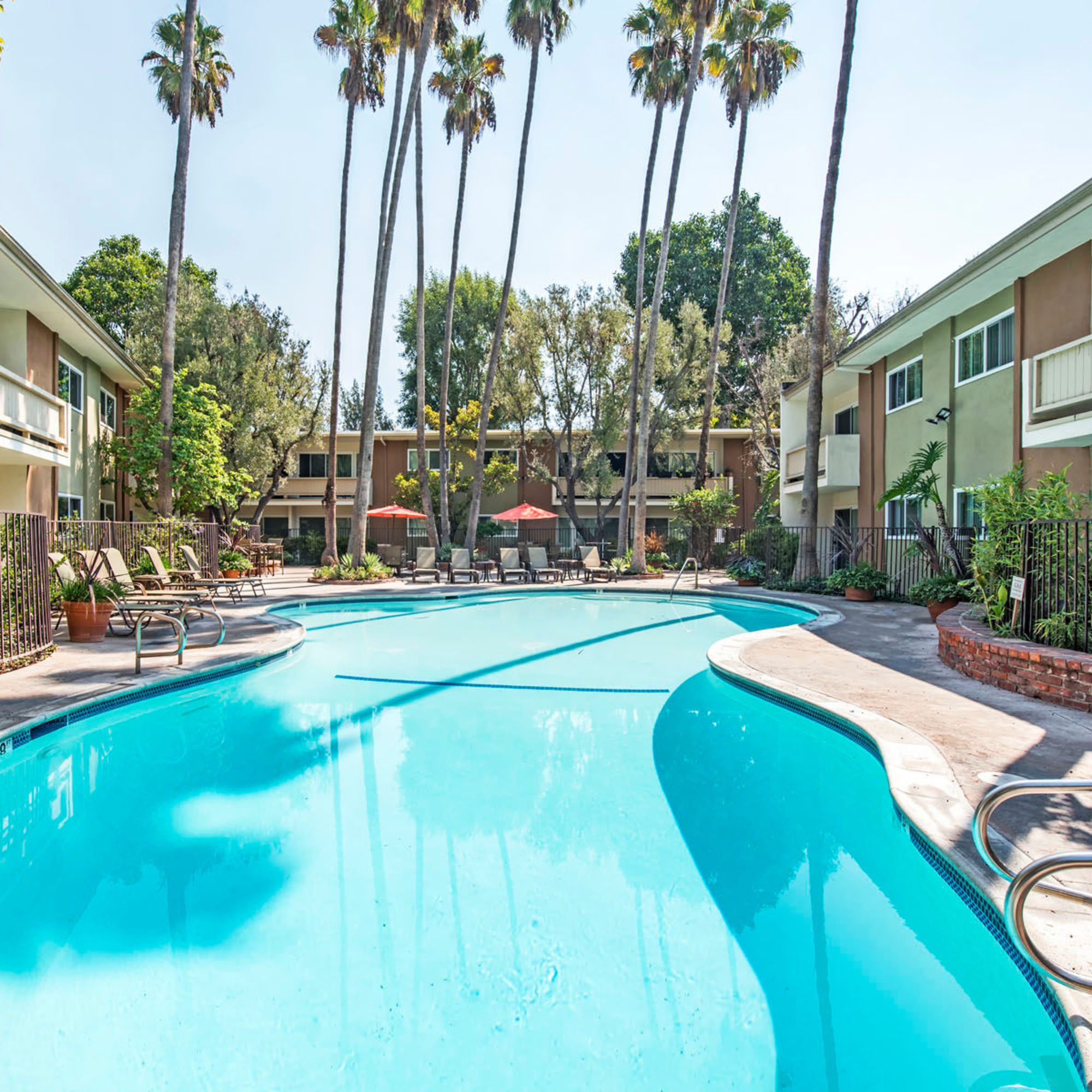 Resort-style swimming pool flanked by palm trees on a beautiful day at Villa Vicente in Los Angeles, California