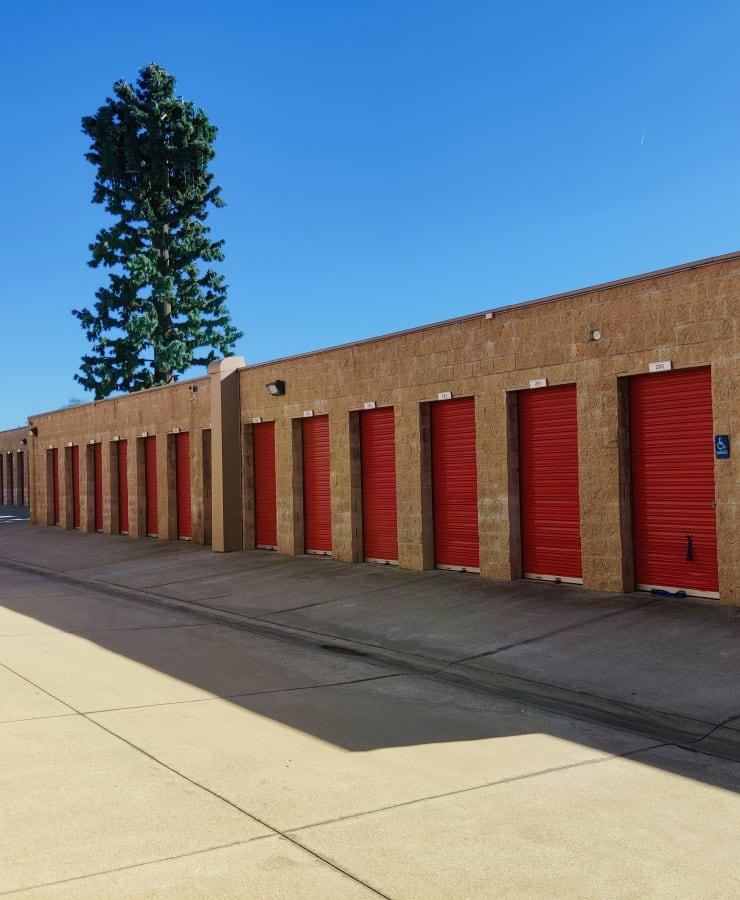 Exterior units at StorQuest Self Storage in Claremont, California