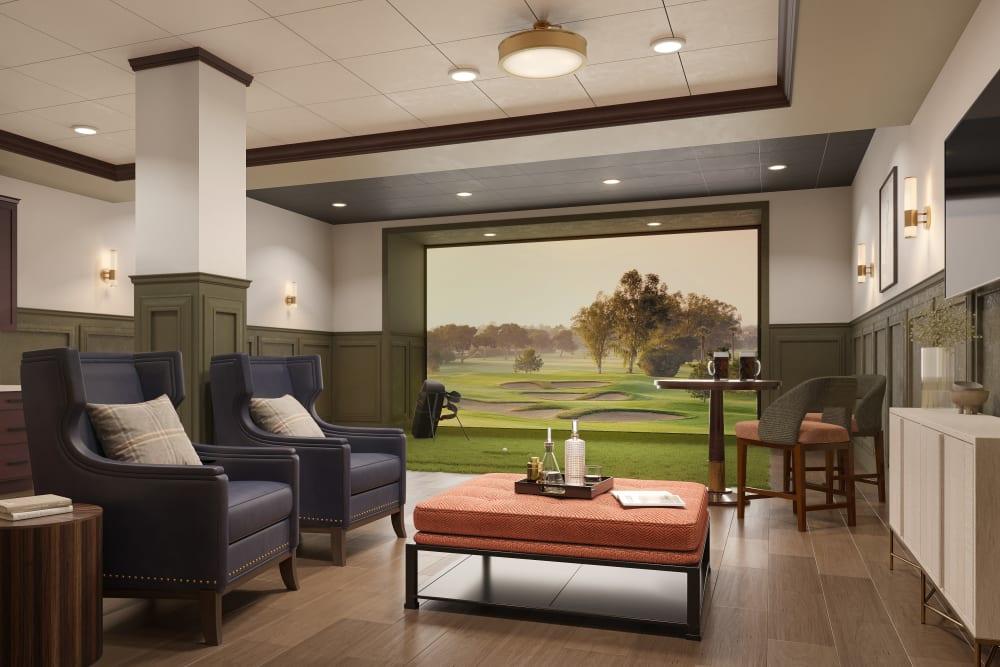 Indoor golf practice room at Amira Minnetonka in Minnetonka, Minnesota
