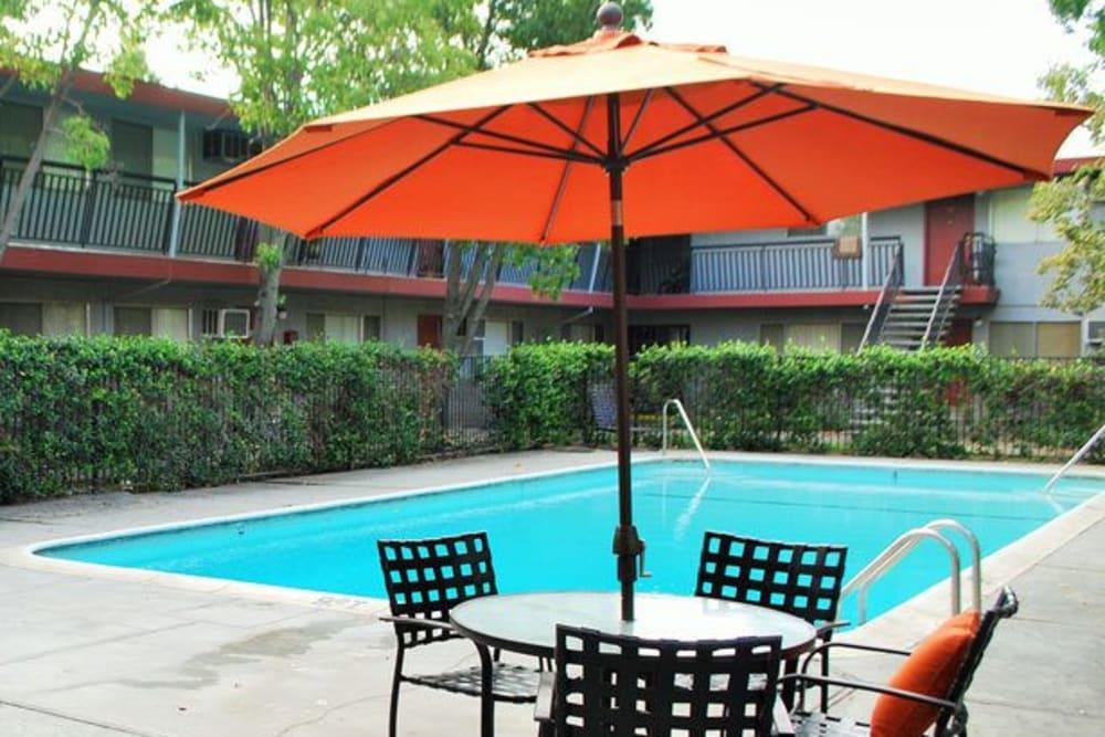 Sparkling pool of Corabel Lane Apartments in Sacramento, California