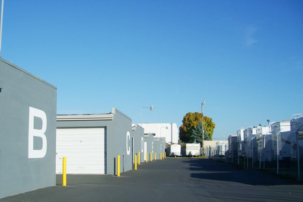 Wide driveways between units at U-Lock-It Self Storage in Vancouver, Washington help with parking and storing RVs
