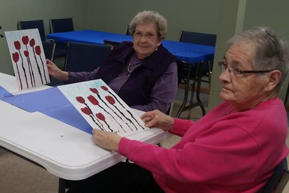 Residents participating in an art class at Prairie Meadows Senior Living in Kasson, Minnesota.