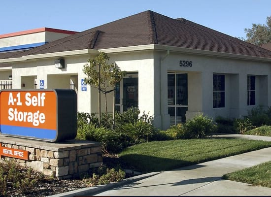 Front entry to A-1 Self Storage in Concord, California