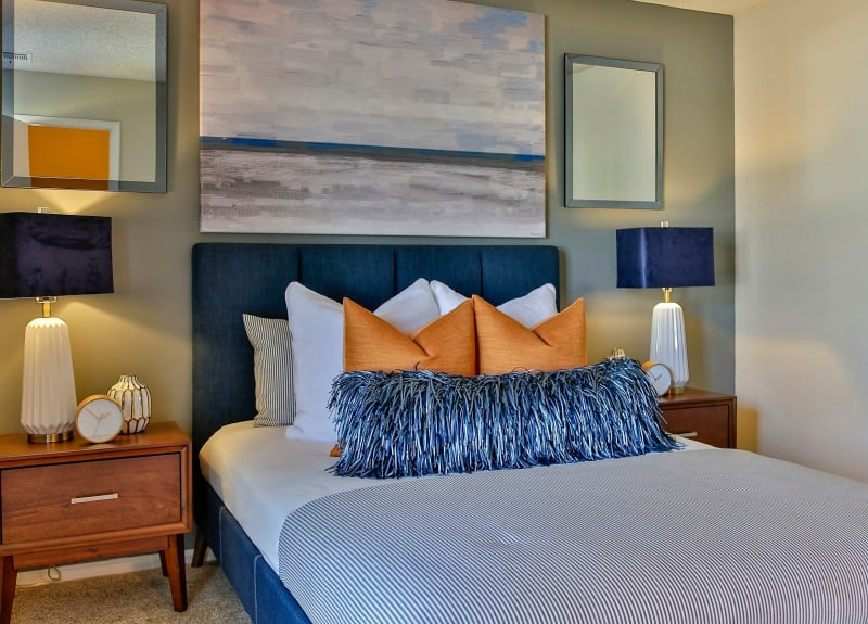 Modern bedroom decor at Lyric on Bell in Antioch, Tennessee