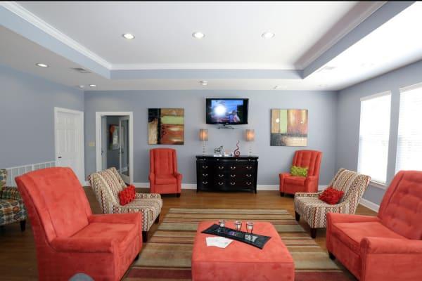 Well-lit living room at Woodside in Mobile, Alabama