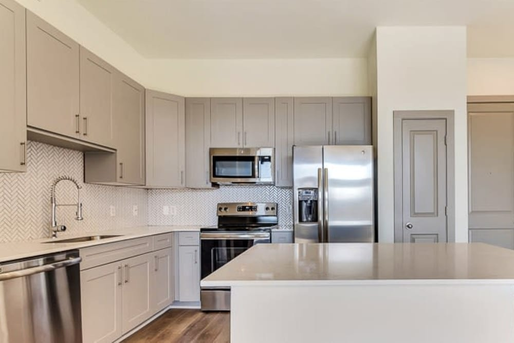 Stainless steel kitchen at Seville Uptown in Dallas, Texas