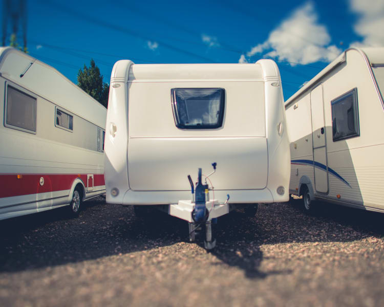 Row of RVs stored at Star Security Storage