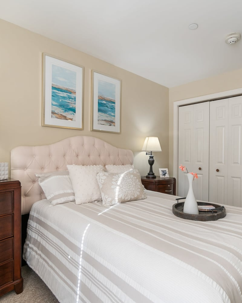 Bed in a 1 bedroom senior apartment at The Hearth at Gardenside in Branford, Connecticut