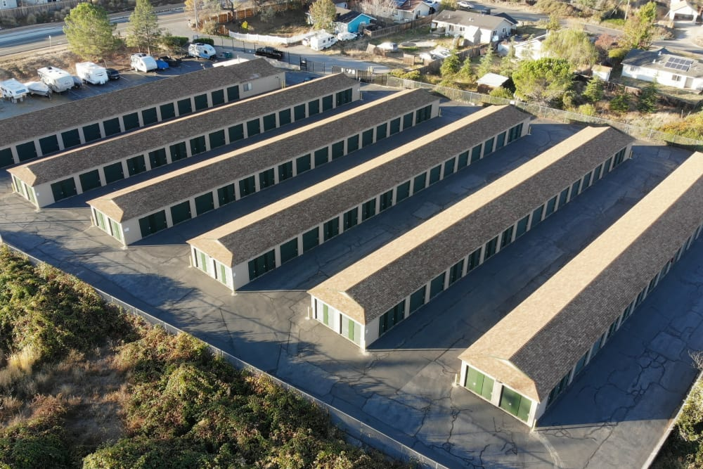 View of Superior Self Storage from above in Grass Valley, California