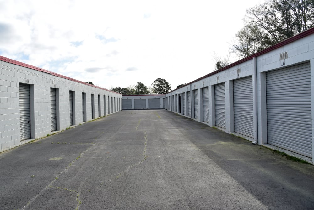 A wide driveway up to storage units at StayLock Storage in Warner Robins, Georgia