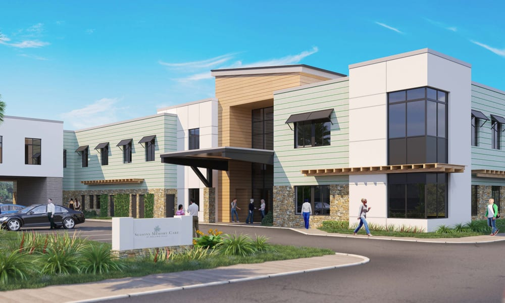 Rendering of main entry and building at Seasons Memory Care at Rolling Hills in Torrance, California.
