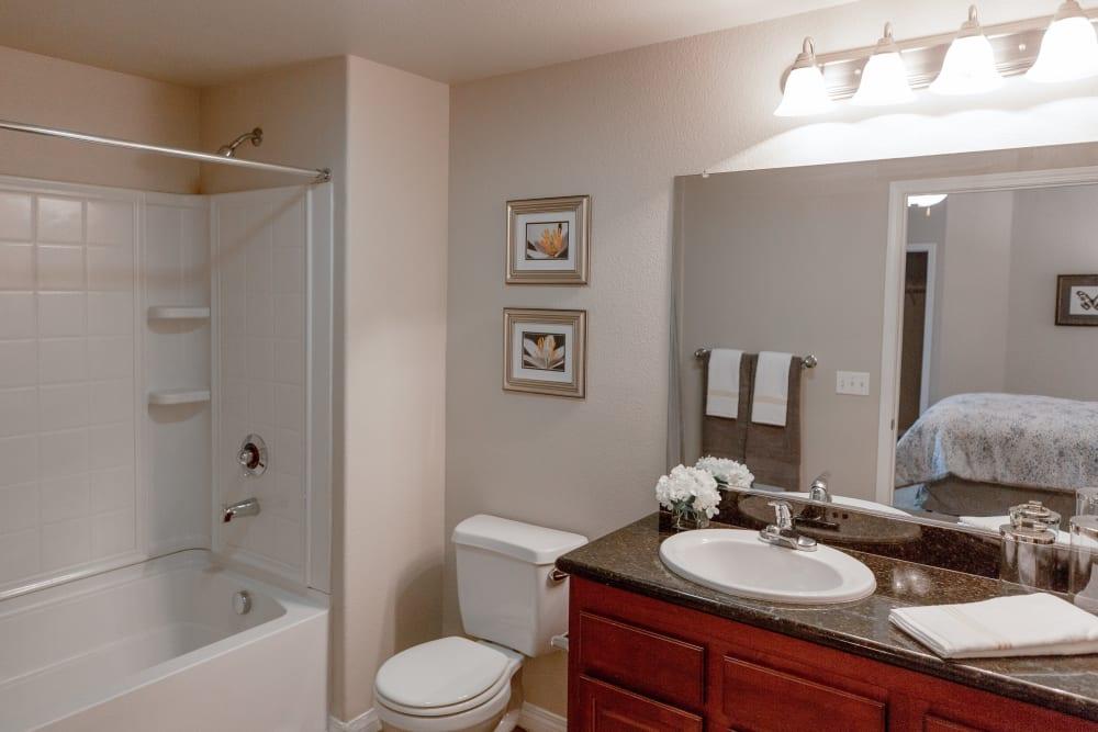 Clean bathroom at Wolf Ranch Condominium Rentals in Sacramento, California