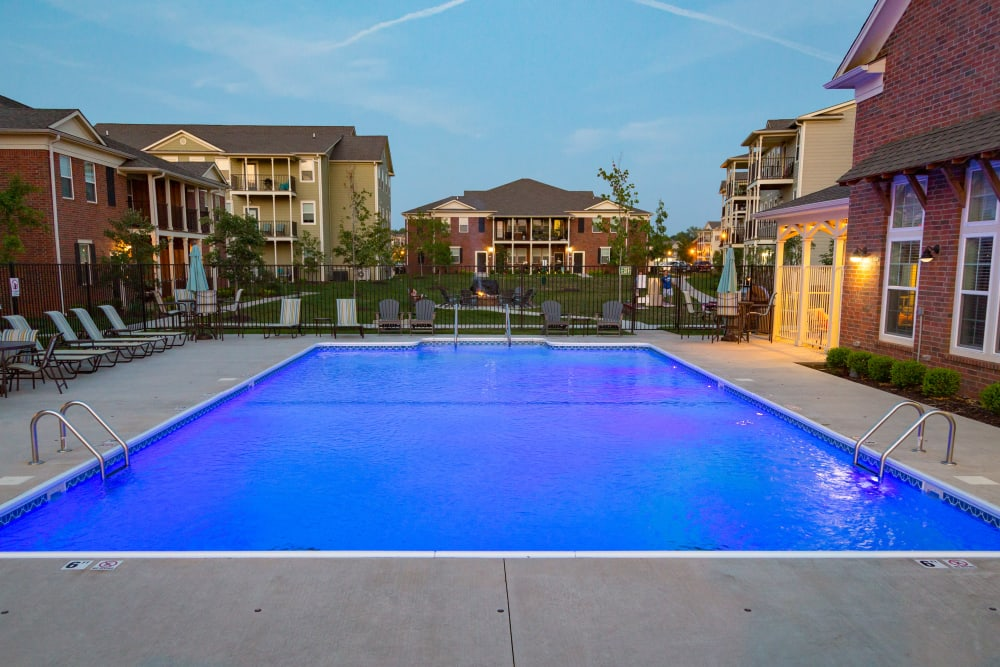 A beautiful swimming pool at dusk at Traditions at Mid Rivers in Cottleville, Missouri