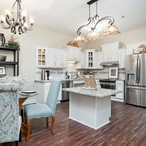 A resident kitchen at Celebration Village Forsyth in Suwanee, Georgia