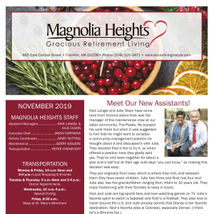 November Magnolia Heights Gracious Retirement Living newsletter