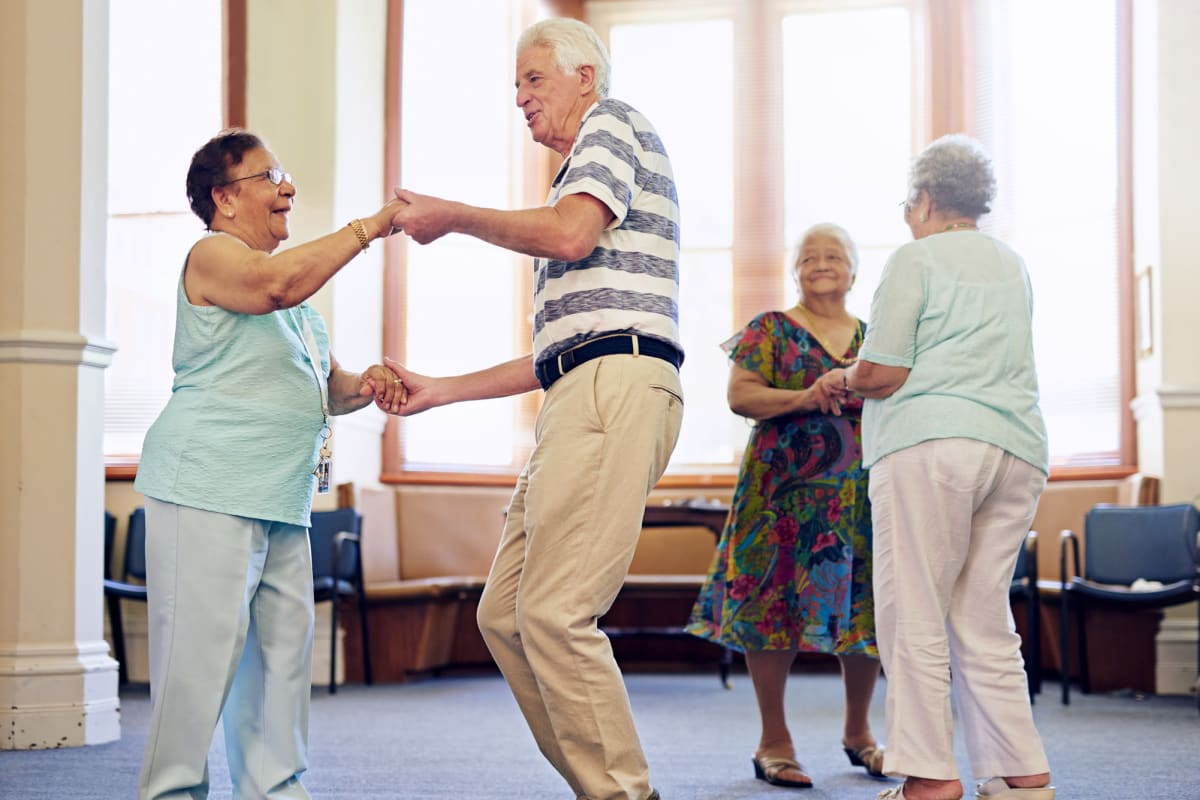 Residents dancing at Claiborne Senior Living.