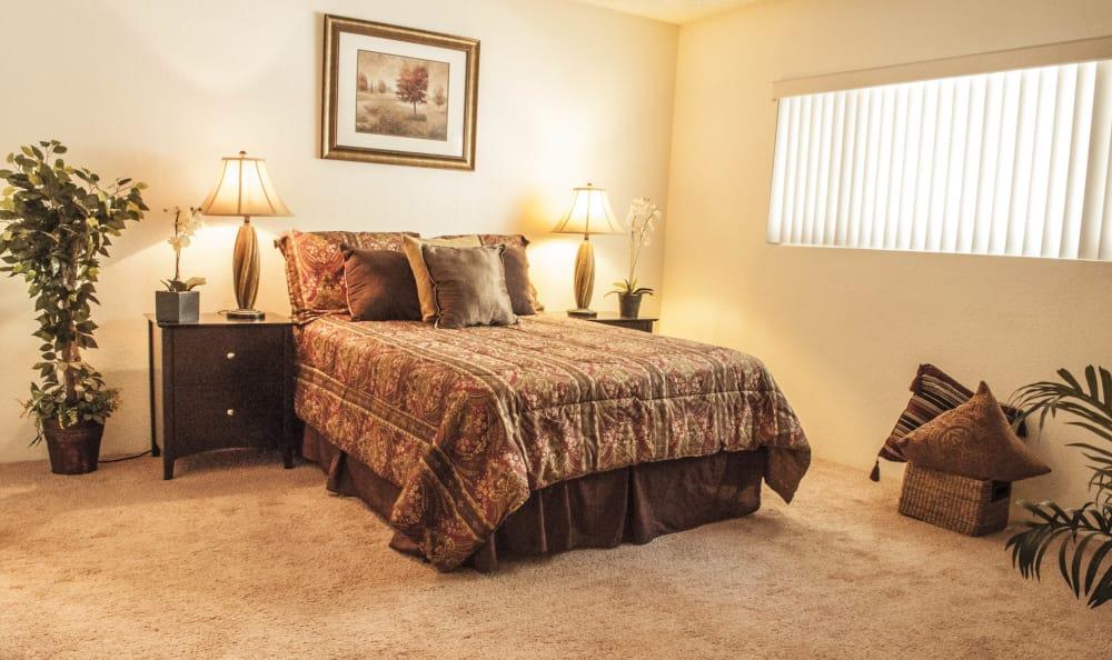 Lovely model bedroom at The Windsor in Sherman Oaks, California
