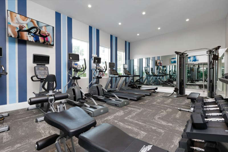 Very well-equipped onsite fitness center at High Ridge Landing in Boynton Beach, Florida