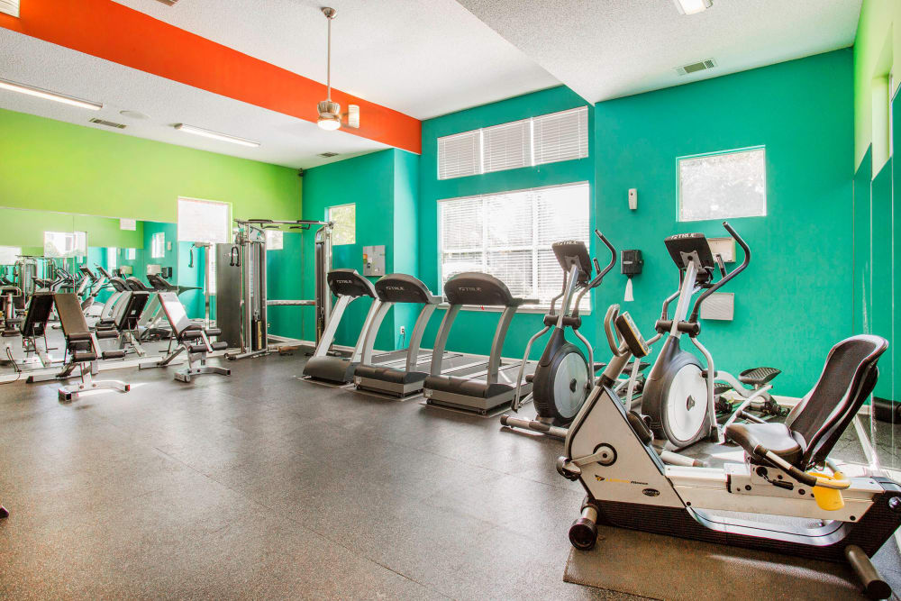 Well-equipped fitness center at The Seasons at Umstead in Raleigh, North Carolina