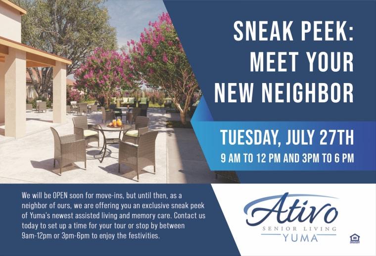 Meet Your New Neighbor Event Flyer - July 27
