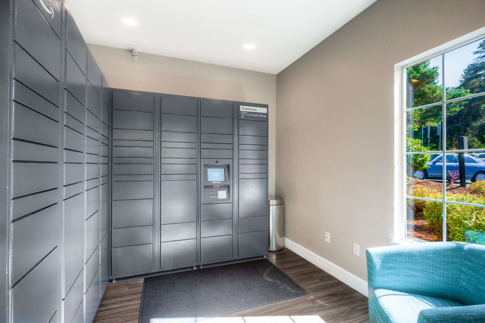 The convenient package room at Newport Crossing Apartments in Newcastle, Washington