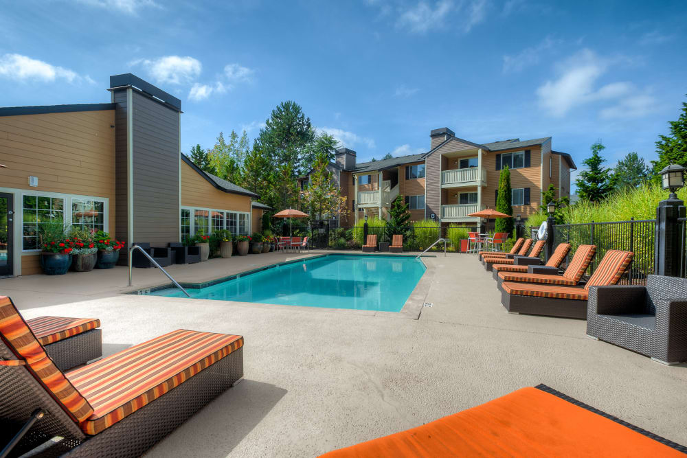 Beautiful resort-style swimming pool with comfortable lounge chairs at Newport Crossing Apartments in Newcastle, Washington
