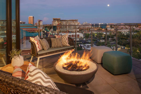 Balcony with fire place at The Local Apartments in Tempe, Arizona