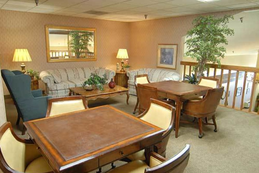 Lots of tables to socialize and play games at River Commons Senior Living in Redding, California