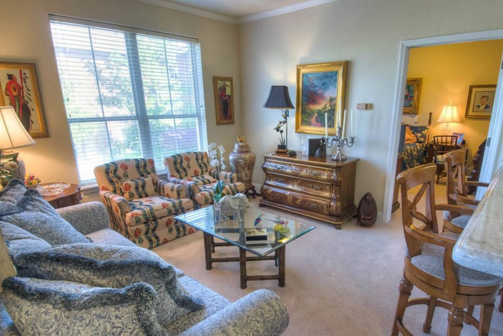 Living room in senior living apartment at Mansion at Waterford Assisted Living in Oklahoma City, Oklahoma