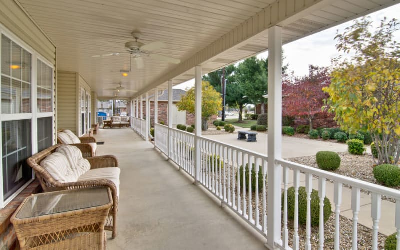 Outdoor patio with chairs at St. Francis Park Senior Living in Kennett, Missouri
