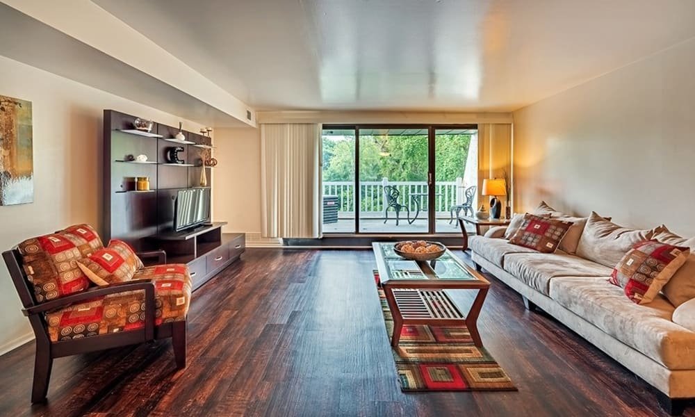Beautiful living room at The Cascades Townhomes and Apartments in Pittsburgh, Pennsylvania