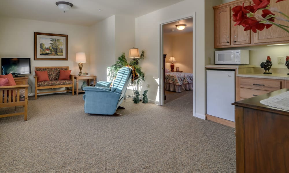 Resident's kitchen, living room and single bedroom at Springfield Heights in Springfield, Tennessee