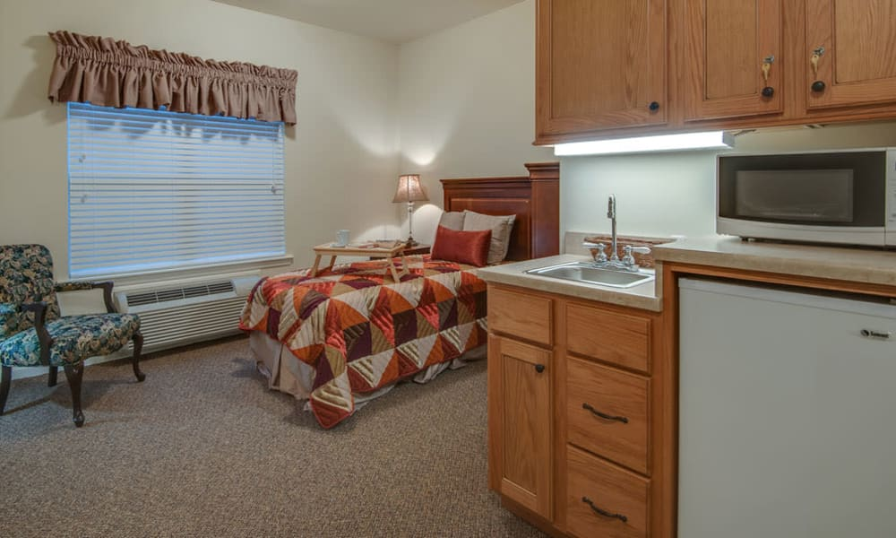 Cozy floor plan for assisted living residents at South Breeze Senior Living in Memphis, Tennessee