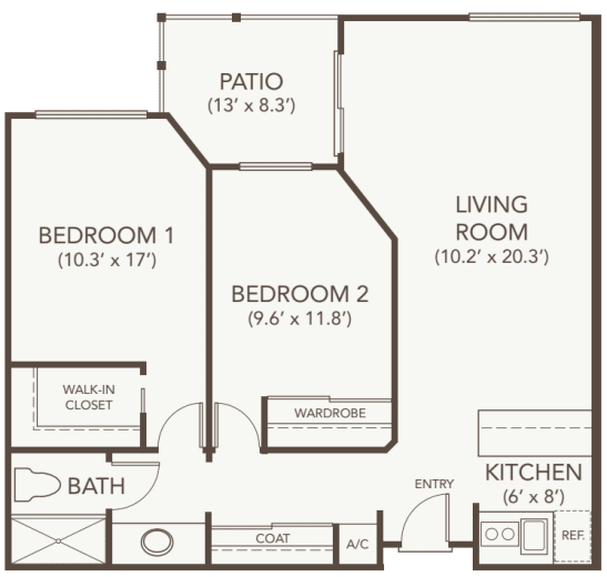 Independent Living Two Bedroom at Oakmont Gardens in Santa Rosa, California