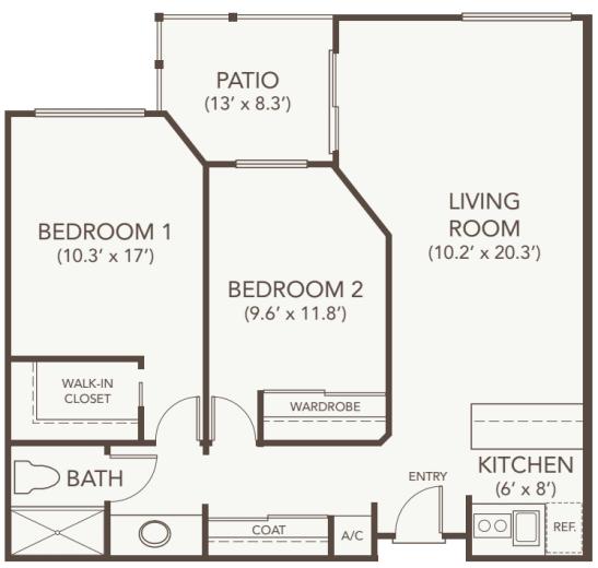 Independent Living Two Bedroom at Oakmont Gardens in Santa Rosa, California